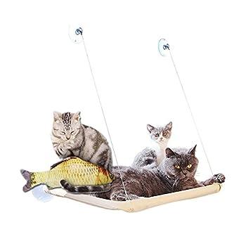 Hamac 20kg de chat Animal domestique Contactes fenêtre monté Hamac Perchoir Coussin de siège Lit étagère à suspendre Idéal pour plusieurs Chats amovible à la maison?55*35cm (Cadeau jouet Poisson)