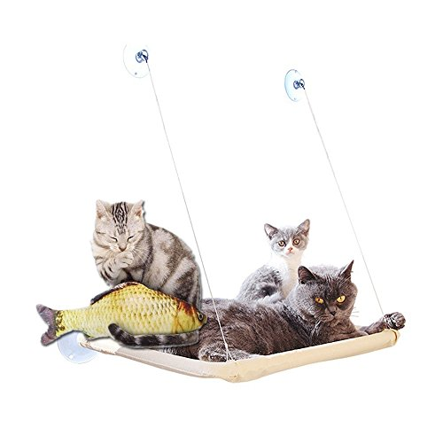 Amaca gatto animali casa regalo giocattoli pesce domestici gatto finestra montata letto assolato sedile letti copertura lavabile molto divertente può sopportare 20kg (pesce giocattolo regalo) - 55*35cm