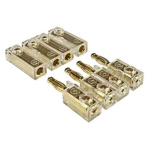 tomzz Audio 5800-041 4-Fach Kabel-Steckverbinder, Bananenstecker, Soundboard, Heckablagenstecker bis 4,00qmm vergoldet