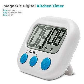 Temporizador de cocina con alarma alta Pantalla LCD grande Temporizador de cocina Temporizador de cuenta regresiva digital magnético para cocina Kaemma(Color:white)