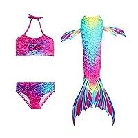 Three-piece Children's Mermaid Swimsuit Mermaid Tail Swimwear Mermaid Costume Swimsuit Bikini Women (110(4-5 Y))