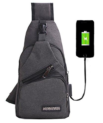 lemongirl Sling Brust Tasche mit USB Ladekabel für Herren Damen, Unisex Schulter Umhängetasche Rucksack für Reisen Wandern Camping Radfahren Mini Adult Handtasche Rucksack One Size schwarz (Junior Tote Black Handtaschen)