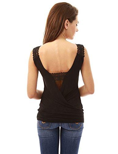 PattyBoutik femmes crochet dentelle encart dos ouvert blouse Noir