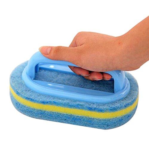 Dylandy Reinigungsschwamm Bürste Bad Badewanne Schrubber Reiniger Küche Spüle Reinigungsschwamm Waschbürste Werkzeug mit Griff für Fliesen Boden Wand Fenster WC (zufällige Farbe).