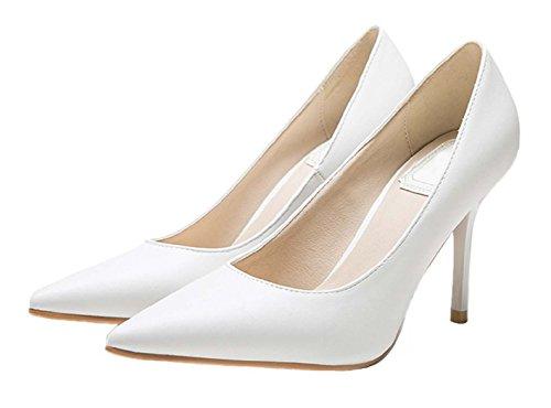 HooH Femmes Pointu Stiletto Escarpins 1485 Blanc-2
