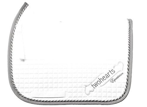 Schabracke Weiss Model WELTMEYER by twohearts (Premium Qualität Ergonomisch und Atmungsaktiv) (XL Dressur (ca 3 cm mehr Rückenlänge))