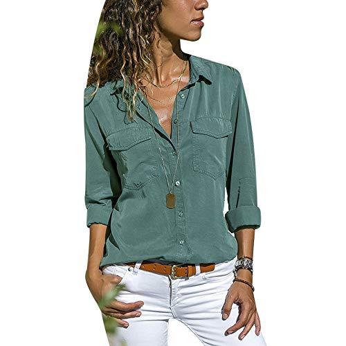 a8c92bba5d41fa Msliy Damen Bluse Langarm Elegante Tunika Langarmshirts mit Knopfleiste  Locker Frauen Shirt Oberteile mit Tasche Frühling
