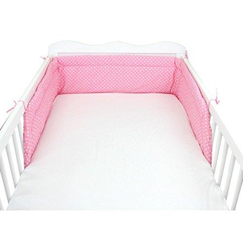 TupTam Baby Nestchen Kopfumrandung Babybett 140x70, Farbe: Herzchen Rosa, Größe: 210x30cm (für Babybett 140x70)
