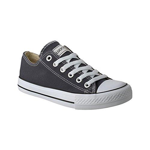 Elara Unisex Sneaker | Bequeme Sportschuhe für Damen und Herren | Low top Turnschuh Textil Schuhe 36-46 01-AN-DkGrey-44 Herren Low-top Sneaker