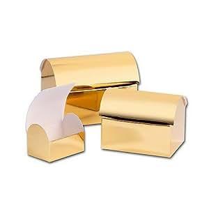 Coffre au trésor brillant moyen doré (lot de 1)