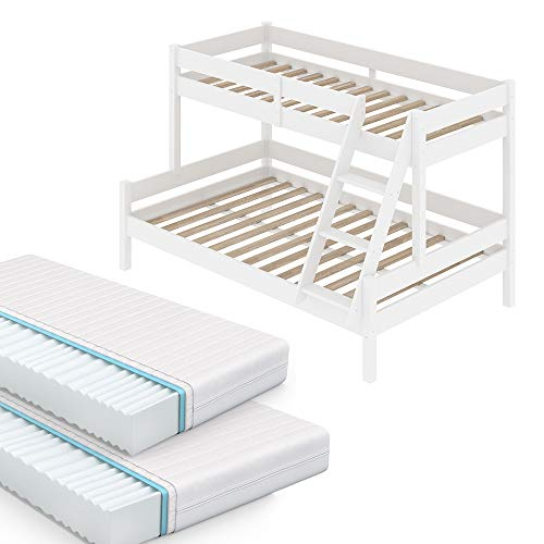 VitaliSpa Kinderbett Everest Etagenbett Weiß inkl. Matratzen Hochbett 140 x 200 cm und 90 x 200 cm Liegefläche Spielbett Massiv Stock Bett