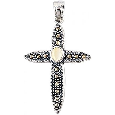 925 Cruz de plata esterlina colgante con marcasita