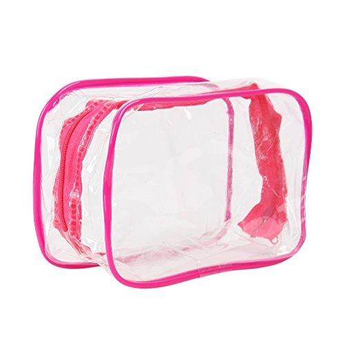 DealMux PVC maquillage cosmétique clair Voyage Organiseur poche Kit Fuchsia