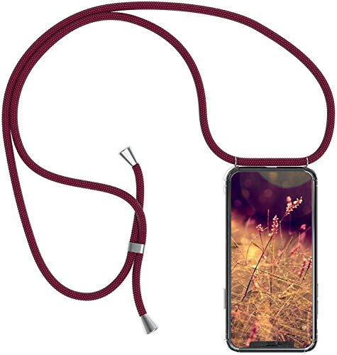Herbests Kompatibel mit Samsung Galaxy M30 Handykette Hülle mit Umhängeband Durchsichtig Necklace Hülle mit Kordel zum Umhängen Schutzhülle Silikon Handyhülle Kordel Schnur Case,Rot