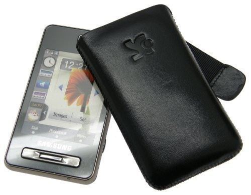 Original SunCase Tasche fuer - Samsung SGH F480 / F480i / F480v - Leder Etui Handytasche Ledertasche Schutzhuelle Case Huelle *Lasche mit Rueckzugfunktion* In der Farbe Schwarz