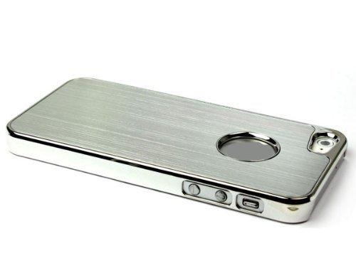 2010kharido Luxury Steel Aluminum W/Chrome Snapon Hard Cover Case for iPhone 5 5S 5G White