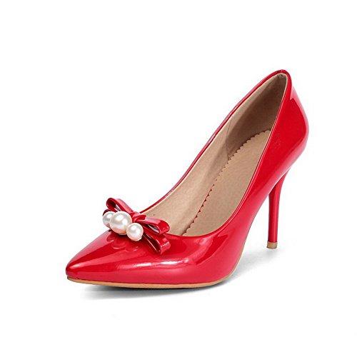 Damen Ziehen auf Spitz Zehe Hoher Absatz PU Leder Rein Pumps Schuhe, Schwarz, 36 VogueZone009