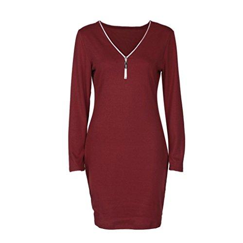 Tefamore Cherrykeke Frauen Damen Zip V Neck Langarm Bodycon Party Abendkleid Rot