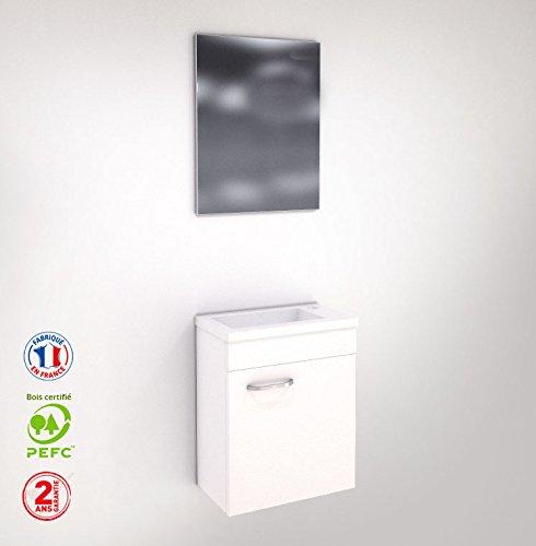 Liineo Meuble WC Lave-Main, Faible Profondeur, laqué Blanc Miroir