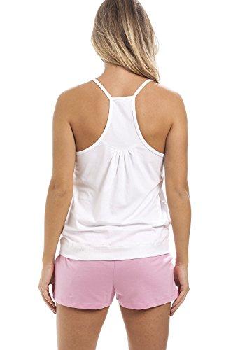 Camille - pigiama da donna a due pezzi - cotone - stampa con coniglio - bianco/rosa Bianco / Rosa