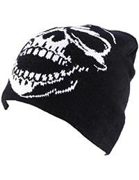 Bonnet Biker Noir avec tête de mort blanche - Mixte