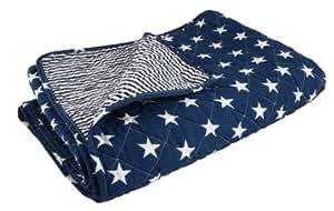 Ib Laursen Quilt Tagesdecke Sterne dunkelblau 130 x 80 cm