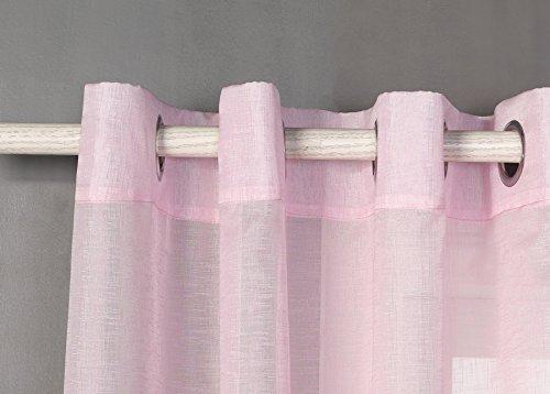 Tende trasparente con 8 ollao (1 pannello, 140 x 260) per soggiorno, camera e camera. 140_x_260_cm (rosa). modello clara