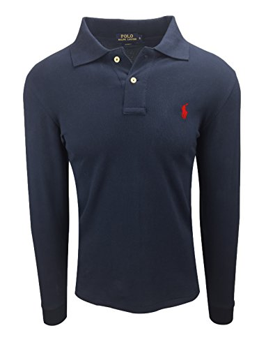 Polo-pony-shirt (Ralph Lauren Polo Herren Langarm Small Pony Custom Fit S-M-L-XL-XXL Outlet, Größe:M, Farbe:Navy Rote Pony)
