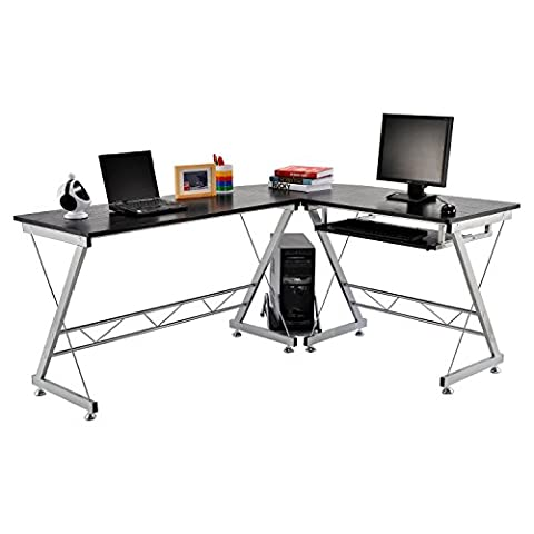 Homcom Corner Computer Desk for the Home Office Sturdy Furniture Workstation New PC Black
