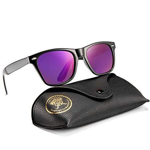 Rocf Rossini Polarisiert Herren Sonnenbrille für Damen klassisch Retro Sonnenbrillen Männer und Frauen Vintage Anti Reflexion UV400 Schutz - Unisex (Schwarz/Lila)