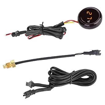 Kimiss Elektronische Motorrad Digital Thermometer Wassertemperaturanzeige Wasserdichte Sonde Led Wasser Thermometer Messgerät Meter Rotes Licht Auto