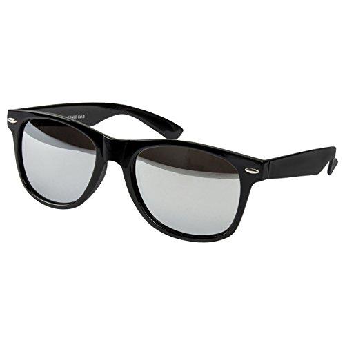 Ciffre EL-Sunprotect® Sonnenbrille Nerdbrille Brille Nerd Silber Voll Verspiegelt Schwarz UV400