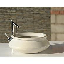 Capstona Alfeta White Marble Wash Basin Antique Stone Bathroom Sink 350 x 350 185 mm