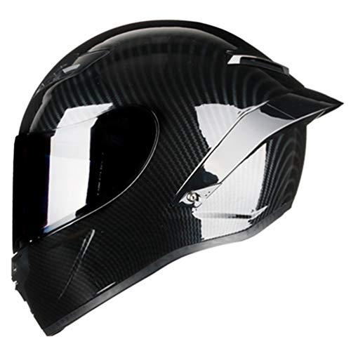 Fibra di carbonio pieno viso casco del motociclo Cap off Road protezione UV anti nebbia antivento flip up caschi moto per moto motocross racing in tutte le stagioni