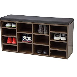 Albatros shoe cabinet with seat cushion VINCENT - Walnut - New model with 14 compartments and click system!