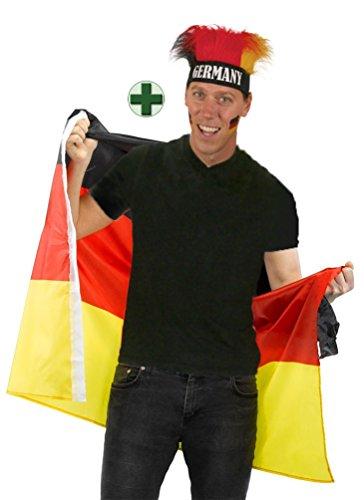 eutschland Kostüm Flagge als Poncho Cape Umhang mit Perücke Stirnband Fan-Artikel Fußball WM Frauen Fußball Deutschland 2019 ()