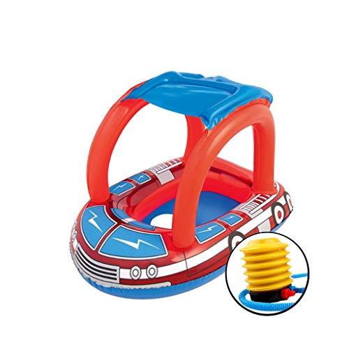 XHCP Aufblasbare Schwimmring Kinder Schlauchboot Baby Sonnenschutz Boot Float Ring 0-2 Jahre alt Wasser Spielzeug 81 * 58 cm Senden Fußpumpe (Float Spielzeug, Boot)
