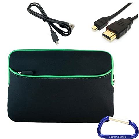 Gizmo Dorks Neoprene Zipper Sleeve (Black with Green Trim), HDMI Cable, and USB Cable with Carabiner Key Chain for the Acer Iconia Tab A500