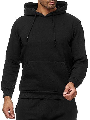 Slim Fit Herren-pullover (Smith&Solo Herren Kapuzenpullover - Sweatsshirt Pullover Rundhals - Langarm - Slim - Fit - Training - Hoodie - Pulli - Hochwertige Baumwollmischung, Schwarz-kapuze, L)