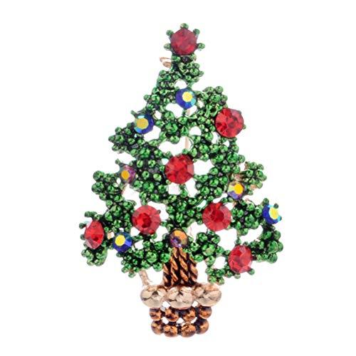ihnachtsbaum Brosche Pins Schöne Rote Strass Brosche für Frauen ()