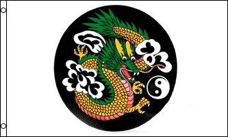 AZ FLAG Bandera del Dragon Chino Yin Y Yang 150x90cm - Bandera del Dragon DE China 90 x 150 cm