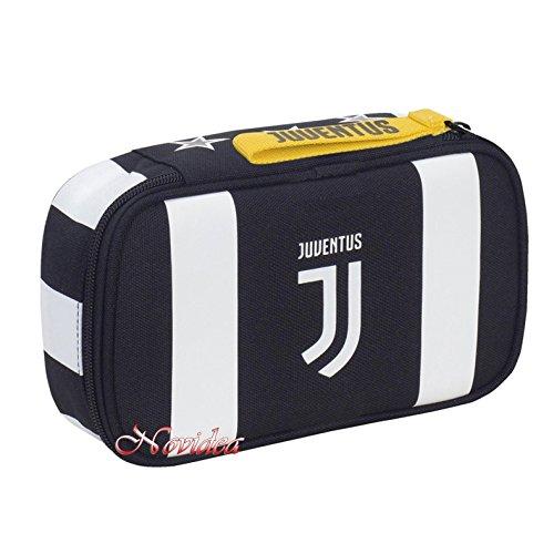 Astuccio scuola juventus quick case bomber completo bianco nero 22x12,5x6 cm + omaggio penna colorata