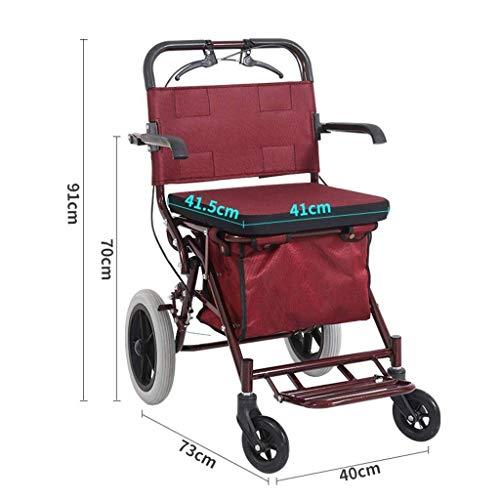 KOSHSH Falten Rollator Walker Mit Sitztransportstuhl, 4-Rad-Sicherheitsbremse FüR Rollatoren Und Abnehmbarer Aufbewahrungstasche -