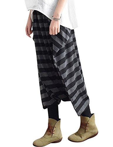 Youlee Donna Vita Elastica A strisce Drop Crotch Harem Pantaloni per Estate Nero