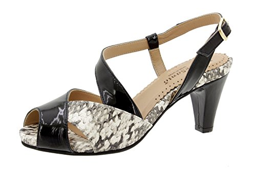 Scarpe donna comfort pelle Piesanto 6256 sandali di sera comfort larghezza speciale Negro