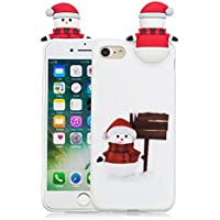 "Ultra Dünn Slim Anti-Rutsch Flexible Handyhülle 3D Merry Christmas Kreative Soft Licht Gel Gomma TPU Silikon Schutz Handy Hülle Case Tasche Etui Bumper für iPhone 8 iPhone 7 4,7"""