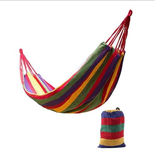 Monllack 280 * 80cm 2 Personen Striped Hammock Outdoor Leisure Bed Verdickte Leinwand hängendes Bett Schlafen Schaukel Hängematte für Camping Jagd (Outdoor-hängematte-schaukel-bett)