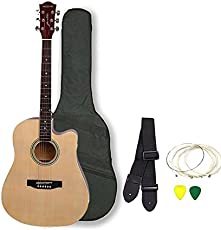 Kadence Frontier Series Acoustic Guitar (With Equalizer Jumbo 41 inch), Natural, Combo with Bag, 1 pack Strings, Strap and Picks