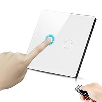 Excelvan Blanc 2 boutons 1 voie Touch Switch /Interrupteur tactile commutateur de lumière avec télécommande