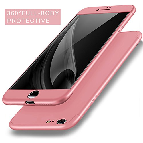 Sunroyal Coque iPhone 6 6S Case 3 In 1 Set Amovible Detachable Housse en Hybrid Hard PC Dur Plastique Ultraslim Ultra Léger Rose Gold Fin Mat Phone Case 360 Full Protection Couverture Complète de Prot Rose Or